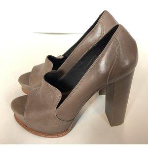 Elizabeth and James Brown Platform Open Toe Heels